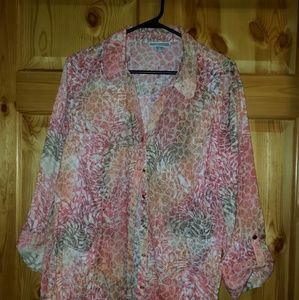 Women's JM Collection print top button up size 14